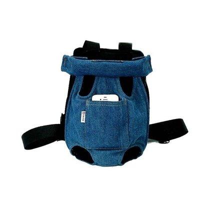 貓咪牛仔雙肩包狗狗透氣旅行遛狗便攜包泰迪外出胸前包寵物貓背包