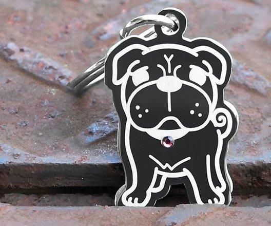 INPET狗狗貓貓名牌-巴哥犬形狀版-深刻雷雕+不鏽鋼304+施華洛世奇水晶~滿千免運~