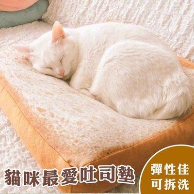 貓咪最愛吐司墊 土司坐墊 靠墊 仿真麵...