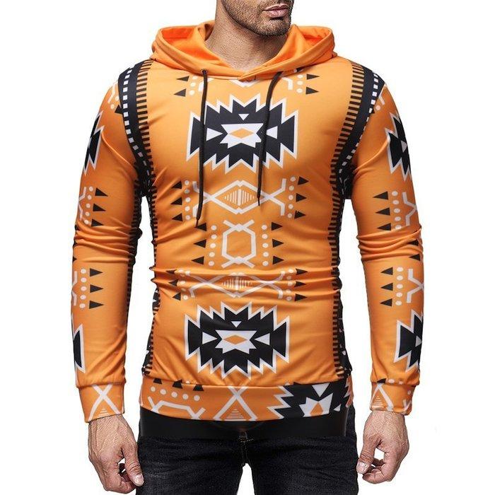 『潮范』  N4 新款外貿男裝創意印花圖案T恤 休閒連帽T恤 套頭衛衣 棉質T恤 長袖T恤NRG320