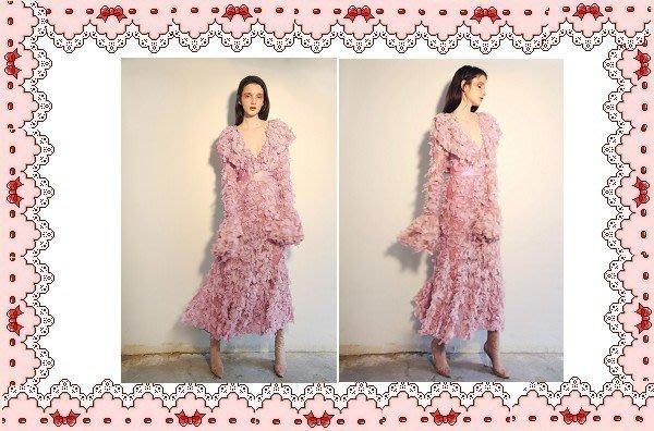⚡肯尼芭比⚡【保證實品拍攝】【最新款】粉紅色長袖長裙☆°荷葉邊連身洋裝☆°╮蜜桃色立體花瓣及膝裙【日本製】