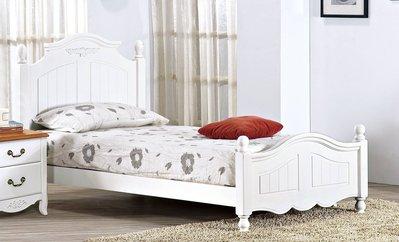 【生活家傢俱】SY-134-1※瑪莎白色3.5尺床台【台中9300送到家】床架 實木 單人 歐式 鄉村風 床頭片 床底