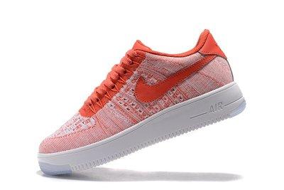 D-BOX Nike Air Force 1 Flyknit 粉紅 白 復古編織 低筒 休閑鞋 女慢跑鞋