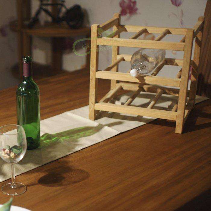 柚木 紅酒架【大綠地家具】100%印尼柚木實木/酒架/桌上型置物架/收納架/餐具架