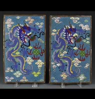 【小小的】~ 清代十九世紀 老件 ~ 景泰藍 掐絲琺瑯 雲龍紋板一對