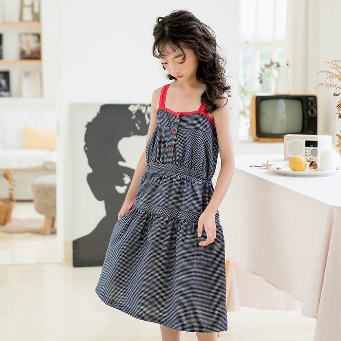 •*~ 辣媽咪衣飾小舖 ~*•❤童裝系列❤K970482韓版大童夏款時尚拼色格子吊帶公主裙洋裝