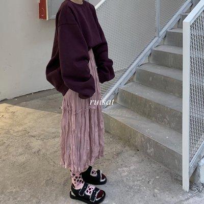 【ruisat】包郵 慵懶風韓國復古寬松燈籠袖加絨衛衣外套+松緊腰中長款皺褶半身裙