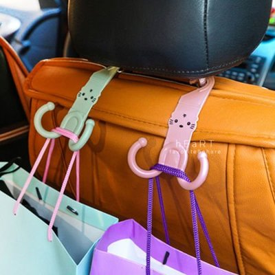 【可愛村】 汽車椅背掛鉤 貓咪造型車用椅背雙掛鉤 汽車掛鉤 掛勾