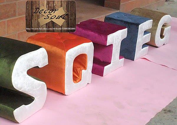 DS北歐家飾§ 訂製 可製化 英文字母 矮凳 穿鞋椅 服飾店面招牌 文字設計 單字 送禮 新店開幕 喬遷裝潢情侶創意設計