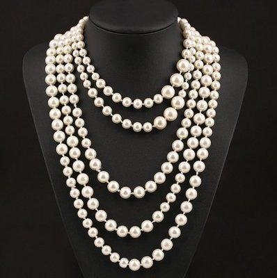 【JP.美日韓】春節服裝配飾歐美大牌奢華韓國複古珍珠多層誇張長款鎖骨項鏈女