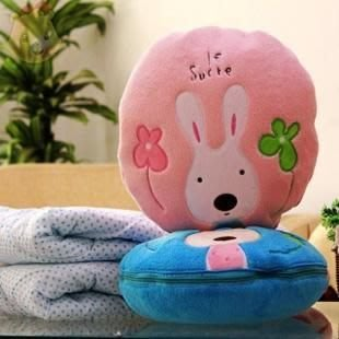 娃娃屋樂園~Le Sucre法國兔砂糖兔-兩用圓形枕30*30CM毯子 每個450元/隨意毯/幼稚園上班族午睡