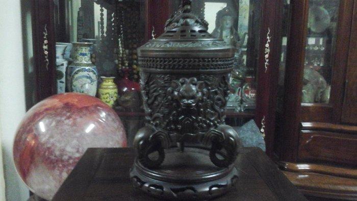 [低價換現金] 大件高級純紅銅雕刻香爐高27公分寬16.5公分深19公分