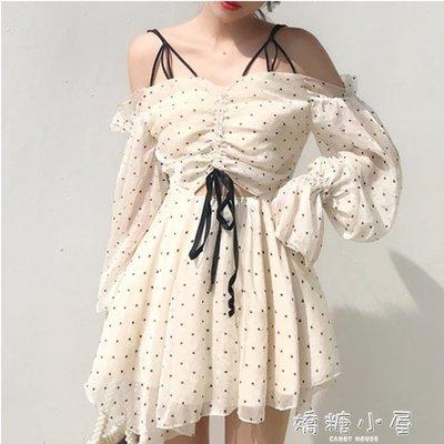洋裝小心機裙子女夏新款韓國chic超仙愛心波點長袖抽繩吊帶雪紡洋裝