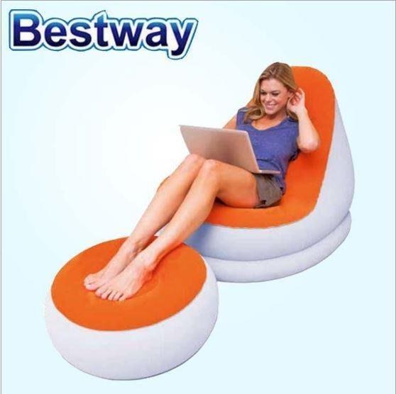 歐美品牌正廠 Bestway馬卡龍植絨充氣沙發椅 休閒沙發 睡椅 兩用充氣懶人沙發床 午睡 腳蹬 室內 戶外 輕便好收納