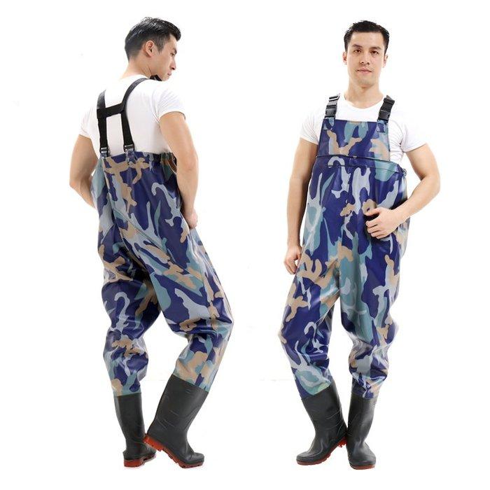 耐磨下水褲水庫雨褲防水魚褲皮叉半身連體水褲子男抓捕魚全身加厚