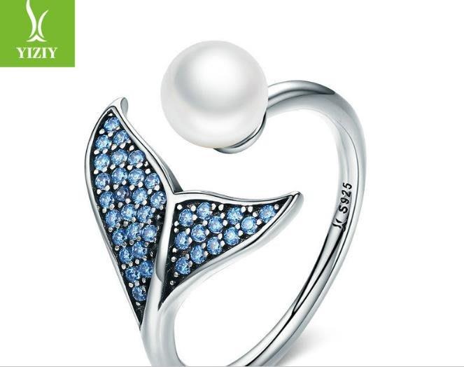 純銀s925歐美貝珠美人魚之淚戒指開口可調節女士指環美人魚尾手指飾品0520給最愛的人