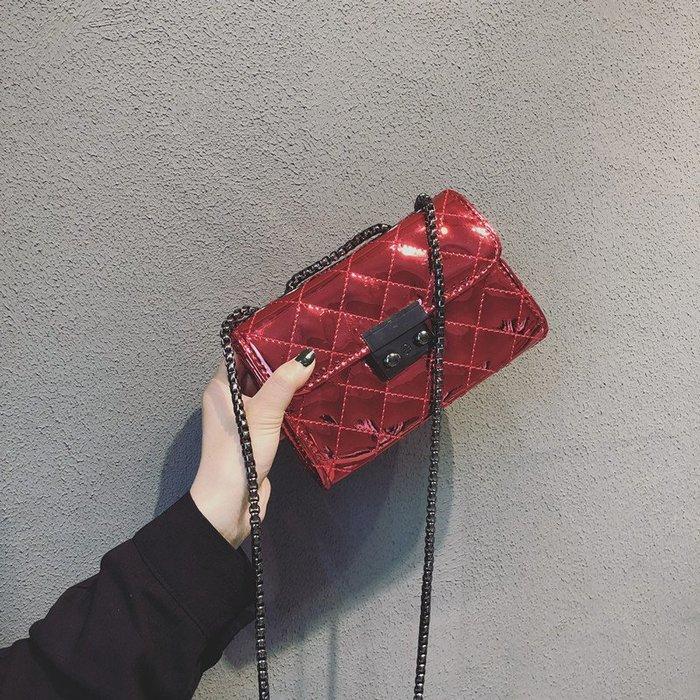 預售款-LKXD-小香風包包女新款潮韓版百搭單肩斜挎包漆皮小方包菱格鏈條包