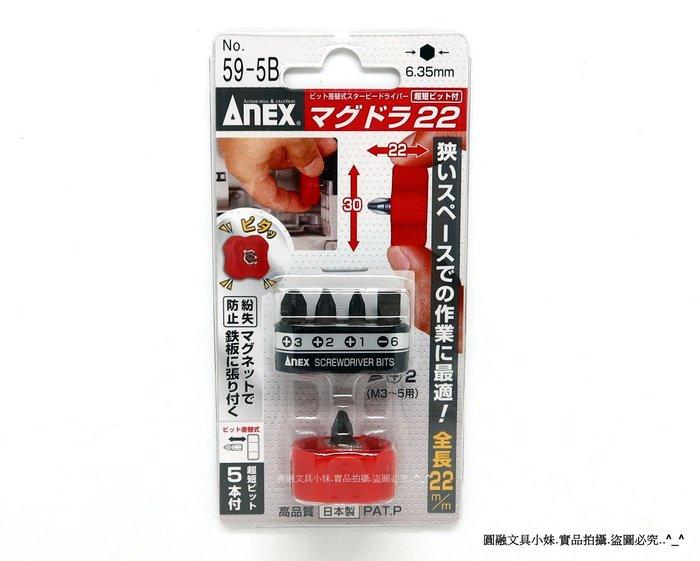 【圓融工具小妹】含稅 日本 ANEX 高品質 超短 螺絲 起子組 五支組 攜帶方便 狹隘空間 方便使力 NO.59-5B