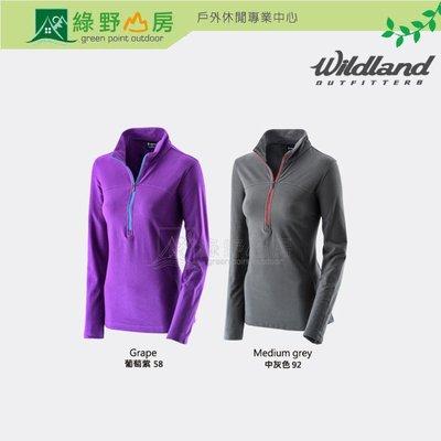 綠野山房》Wildland 荒野 女 彈性銀離子保暖抗菌上衣 運動 登山 健行 長袖排汗衣 葡萄紫 中灰 0A22603