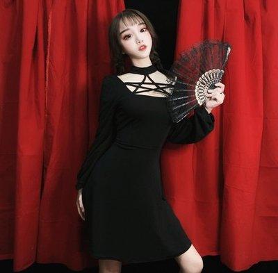 【黑店】訂製款五芒星鏤空洋裝 暗黑系洋裝 女巫系暗黑洋裝 性感洋裝 黑色五芒星洋裝 萬聖節洋裝 個性小黑裙 MB292