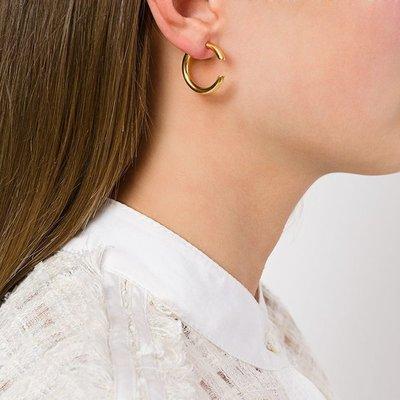 宏美飾品館~歐美創意設計C形耳環女黃銅鍍金小眾個性潮夸張hoop圓圈耳釘耳圈