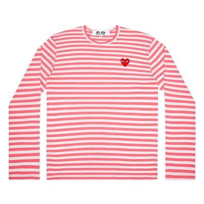 【張開先生】COMME des GARCONS 川久保玲 PLAY 長袖條紋-珊瑚紅【女生SIZE】
