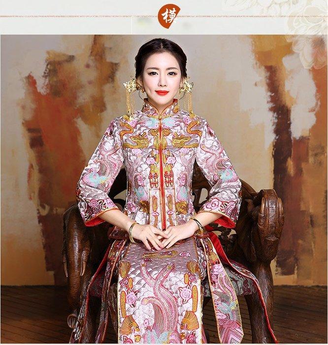 1105中大尺碼L-XXL春夏季中式新娘服 與劉詩詩同款