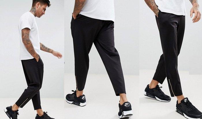 ◎美國代買◎ASOS抽繩腰線寛鬆大腿窄褲口拉鏈設計休閒雅痞風抽繩拉鏈九分長褲~歐美街風~有大尺碼喔