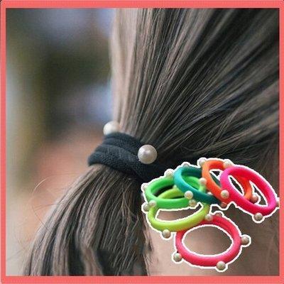 八號倉庫  髮飾 韓版頭飾 髮飾 基礎款珍珠髮圈 頭花 頭繩 紮頭髮皮筋【2F123Y512】