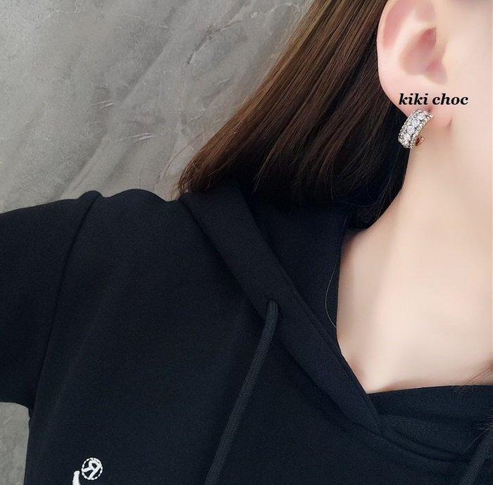 ♥kiki choc♥**925銀針* C型半圓圈大小水鑽滿鑽耳環/耳針