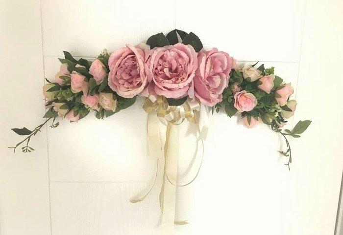 粉紅玫瑰精品屋~仿真玫瑰芍藥 門楣裝飾花環  韓式風格家居裝飾~