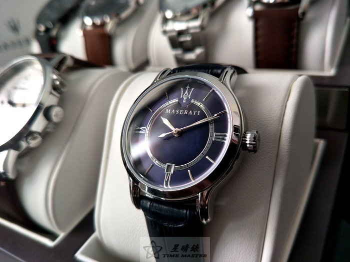 瑪莎拉蒂手錶MASERATI手錶EPOCA LADY款,編號:MA00237,寶藍色錶面深藍色皮革錶帶款
