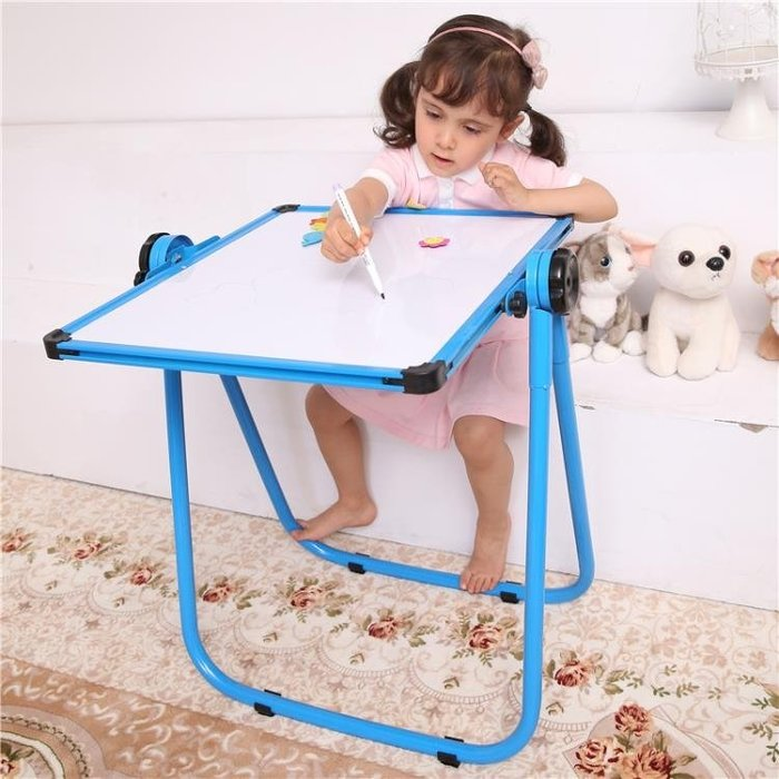兒童畫板寶寶小黑板家用支架式雙面可升降磁性塗鴉板寫字白板畫架MJBL