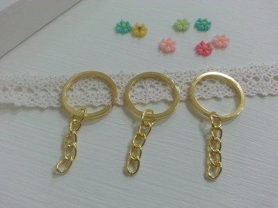【小芒果】手作材料/帶鏈鑰匙圈25mm(平圈)仿金色/一份500個1050元(批發)
