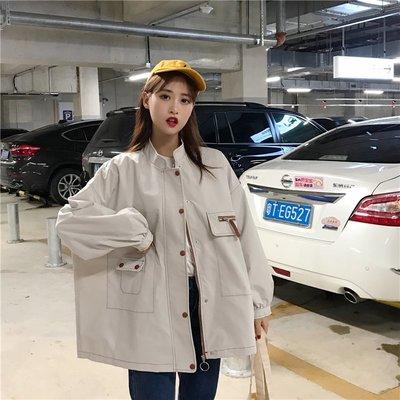 【Jane/HK3A】2019春款韓版新款立領簡約百搭風衣中長款單排多扣長袖拉鏈外套