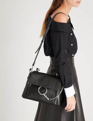 【折扣預購】正品CHLOE Faye Day medium中款中型金屬環小牛皮 手提包 肩背包 側背包 黑色