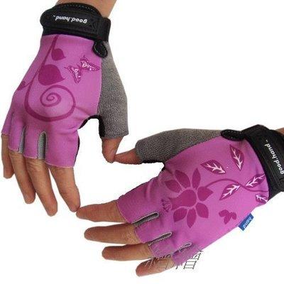 【繪繪】good.hand 女王專用手套 淡紫花 桃紅色 手背不對稱圖樣 半指手套 女王最愛手套工廠