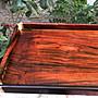 ——大红酸枝精品——   13-2文盘~托盘•铜角•山水纹 尺寸:45.5×23×3cm 獨板、生漆處理。