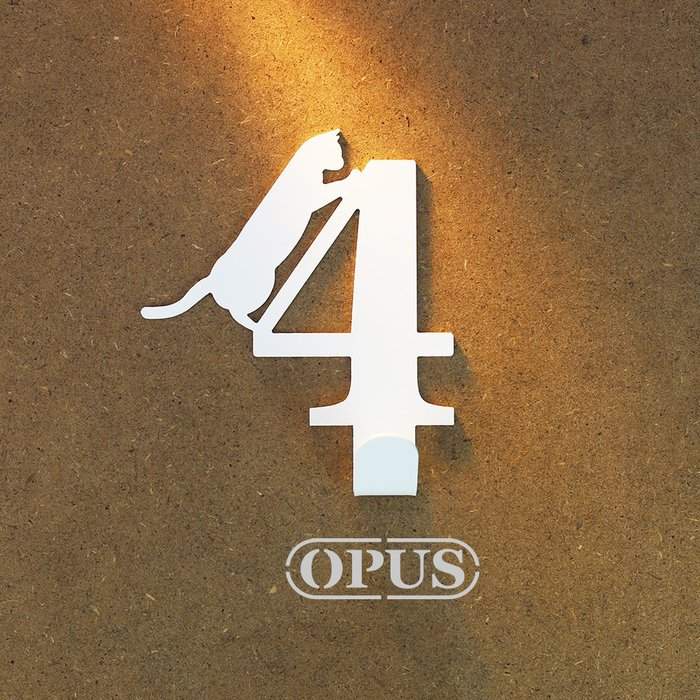 當貓咪遇上數字4《優雅白》壁飾掛勾 號碼無痕掛鉤 居家收納 牆面裝飾壁掛【OPUS東齊金工】HO-nb12-4(W)