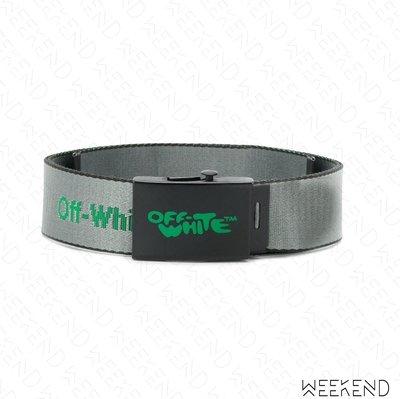 【WEEKEND】 OFF WHITE Logo 工業 腰帶 皮帶 灰+綠色 19春夏
