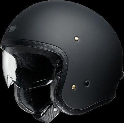 《鼎鴻》SHOEI 半罩式3/4復古潮流帽 J.O素色 消光黑