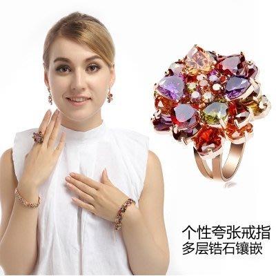 歐美大牌時尚個性水鑽/鋯石戒指女 七彩色花朵簡約氣質鋯石開口指環食指戒