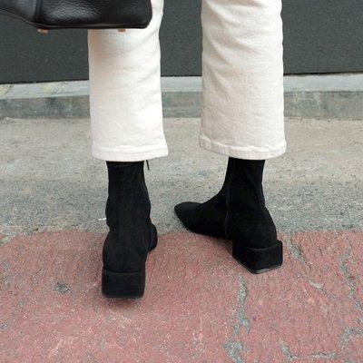 墨染·艾麗珠 馬丁靴女ins網紅瘦瘦靴方頭粗跟短靴2121新款高跟襪靴子女