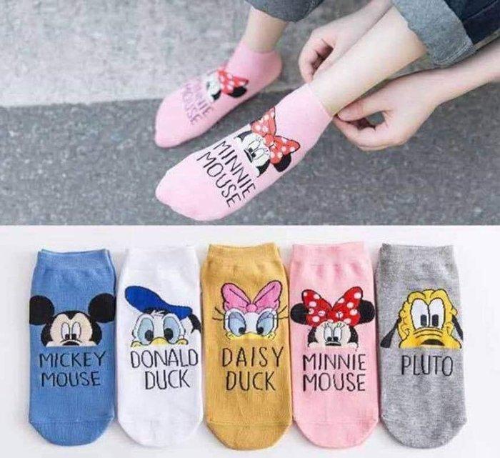 日本流行潮襪 米老鼠米奇船襪一組5入 (每色一對)