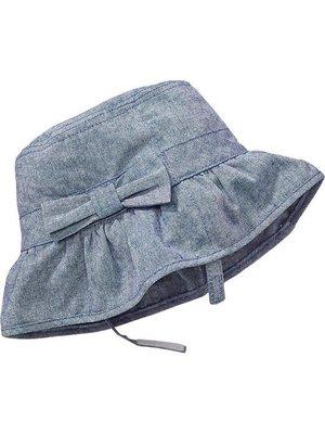 Ginny媽咪【Old Navy】春夏款女嬰超百搭牛仔布嬰兒帽蝴蝶結百褶遮陽帽6-12M現貨