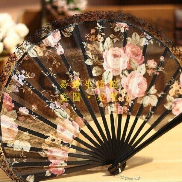 [王哥廠家直销]居家飾品 服裝配飾 珍藏 江戶日式折扇 日本和風扇子 真絲高貴 蕾絲櫻花 大朵薔薇 擺件 生日禮物LeGo