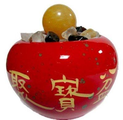 免運 養慧軒  鶯歌陶瓷吉祥紅聚寶盆+五行水晶碎石(800g)+招財圓球(直徑3-4cm),呈鮮紅色澤,財源滾滾好運來