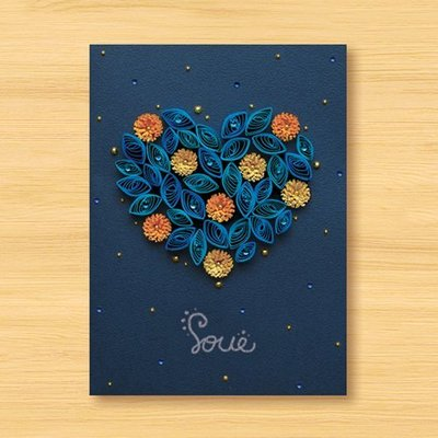 【Dino小恐龍:手創館】手工捲紙卡片:星空系列 - 來自遠方的愛戀 ‧ 愛在星空漫遊下