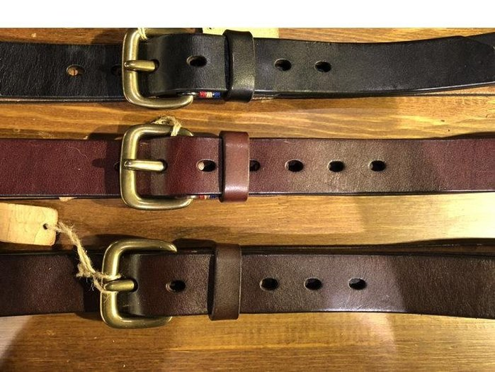 三木子會社-3.3CM寬度男士銅扣腰帶手工車縫線針扣皮帶頭層牛皮休閑牛仔褲帶