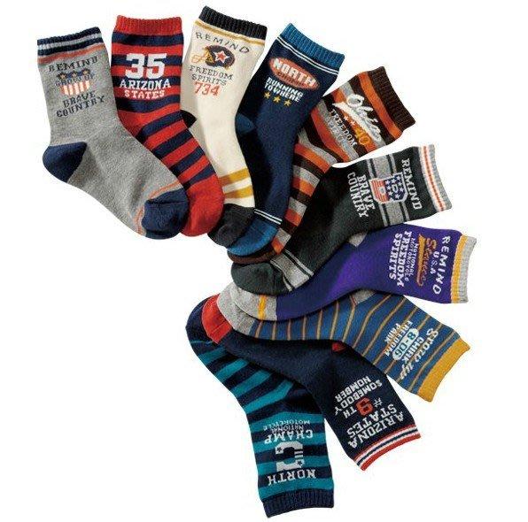 **阿布童裝**【S1018】英文數字短襪/襪子全棉短襪 男童襪子(10枚組)15-19/19-23cm